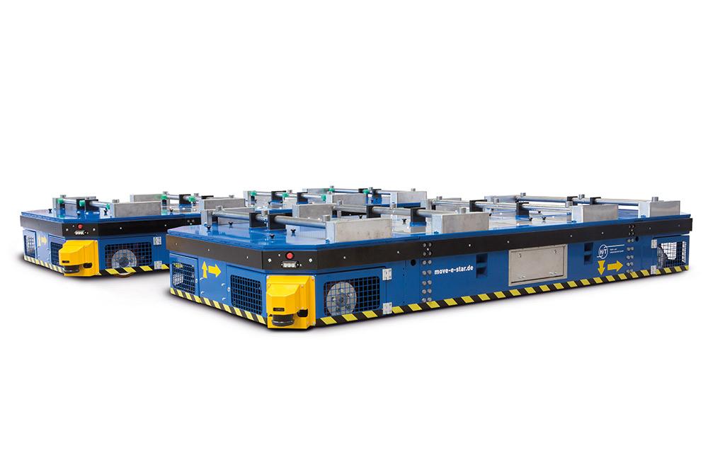 Zwei move-e-stars mit Werkstückauflage eingesetzt in der Metallverarbeitung