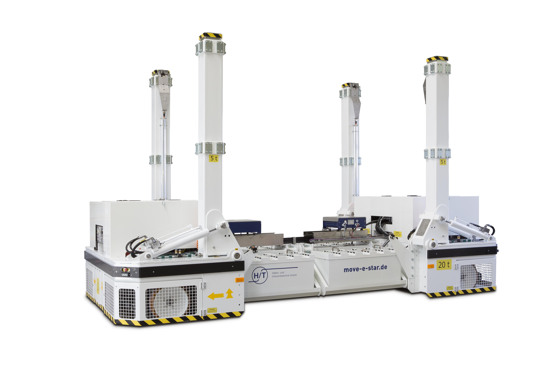 move-e-star in Längsrichtung verstellbar und mit teleskopierbarer Hub-Schwenkeinheit